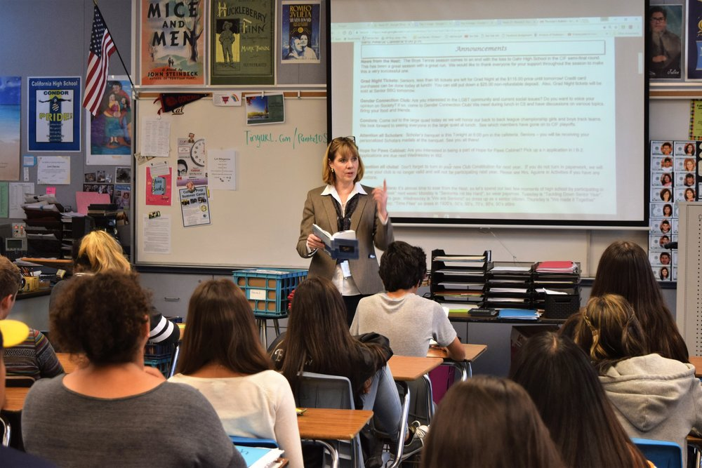 "California High School English teacher and Puente Program adviser Lori Davies prepares her students for a reading of ""Romeo and Juliet."""