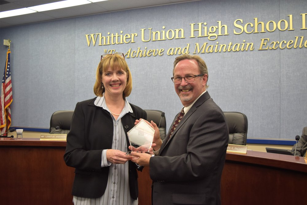 Whittier Union High School District Superintendent Martin J. Plourde introduces Cal High English teacher and Puente Program adviser Lori Davies as the WUHSD 2017-18 Teacher of the Year.