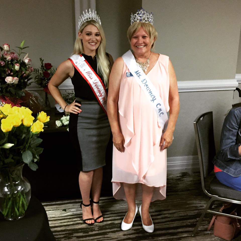 "Joanna Peterson, right, is ""crowned"" Ms. Downey C&C at her installation as Downey Chamber of Commerce president on Wednesday."