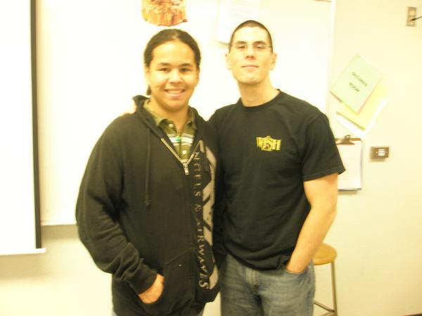 Dominguez with Warren High History teacher David Lee on the last day of his Junior year. Photo provided by Dominguez.