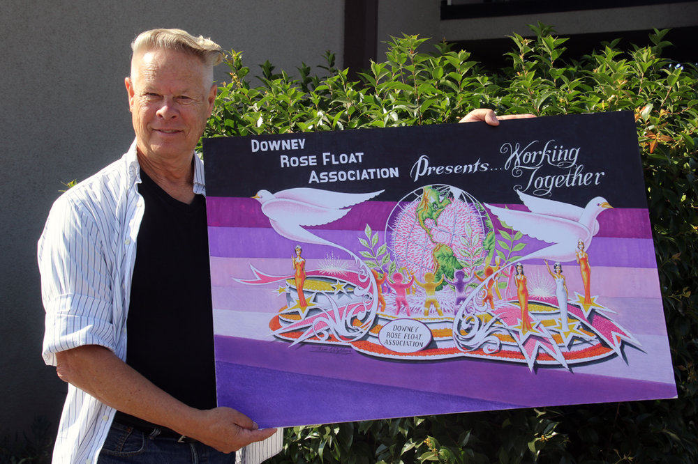 Thom Neighbors plays an integral role in the design of Downey's annual entry in the Tournament of Roses Parade. Photo by Alex Dominguez
