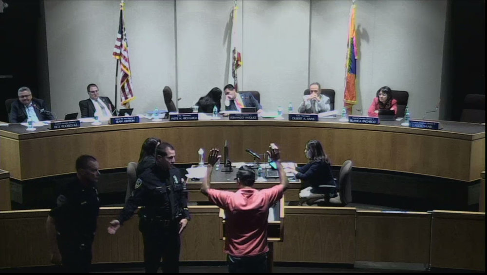 A screenshot from the July 11 Downey City Council meeting, when Armando Herman was ejected by Mayor Fernando Vasquez.
