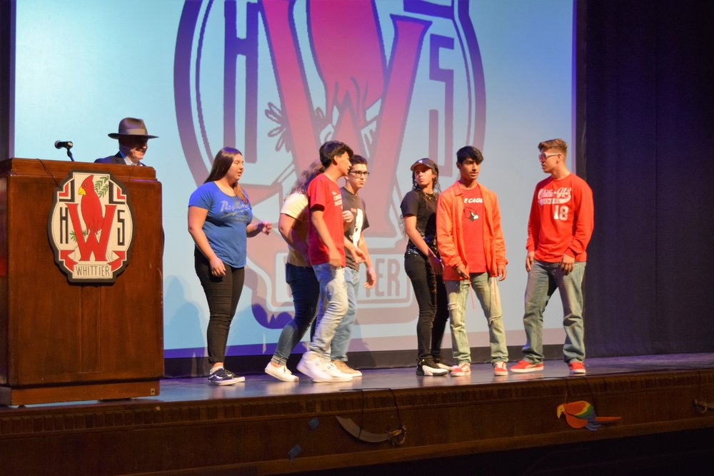 Whittier High School students formally thanked alumnus William C. Gordon for donating more than $230,000 in books, technology upgrades and campus murals during their Back to School assembly on Sept. 8.