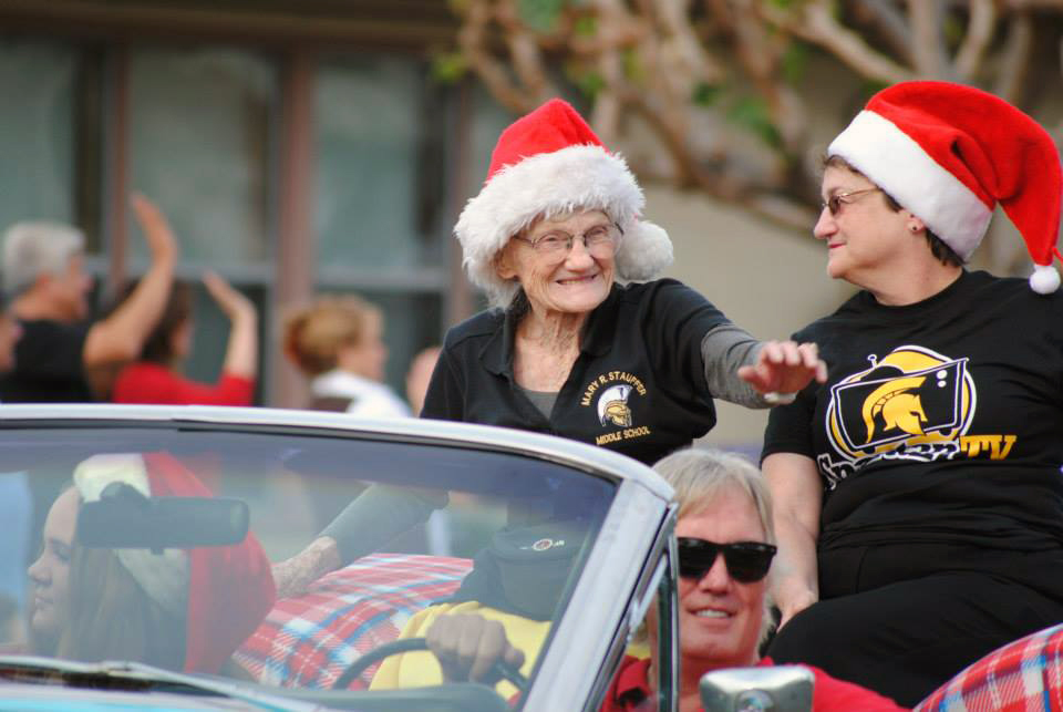 Dr. Mary Stauffer rides in the 2015 Downey Christmas Parade. Photo by Eric Pierce
