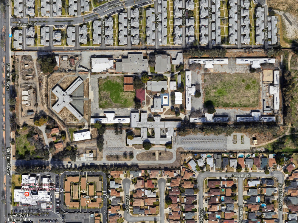 An aerial view of the proposed homeless shelter at 13200 Bloomfield Ave. Photo by Google