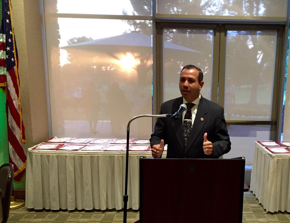 State Sen. Tony Mendoza speaks at the Downey Coordinating Council awards dinner.