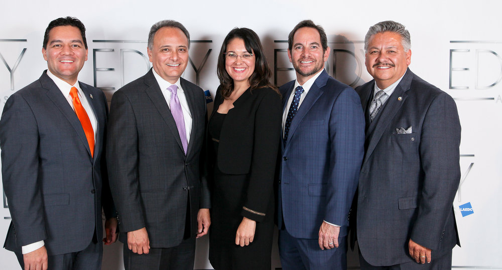 From left: mayor Fernando Vasquez, city manager Gilbert Livas, councilmember Blanca Pachco, economic development director Aldo Schindler and councilmember Rick Rodriguez.