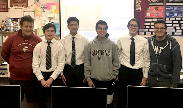 The Cosmic Vikings will travel to MIT next month for the Zero Robotics 2017 tournament. From left: Noah Palacios, Chance Perkins, Captain: Akhil Sharma,.Earldrene Dubongco, Evan Saracay and Jose Cisneros