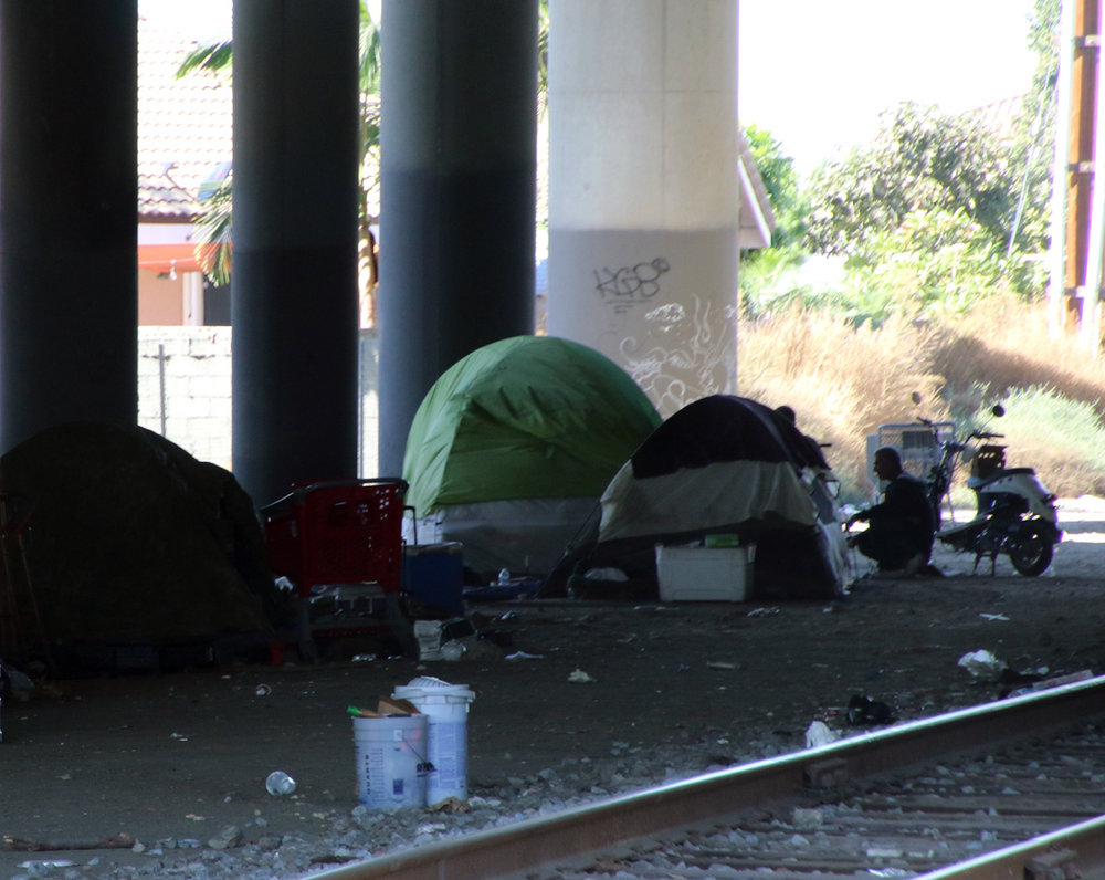 A homeless encampment under the 605 Freeway in Norwalk. Photo by Alex Dominguez