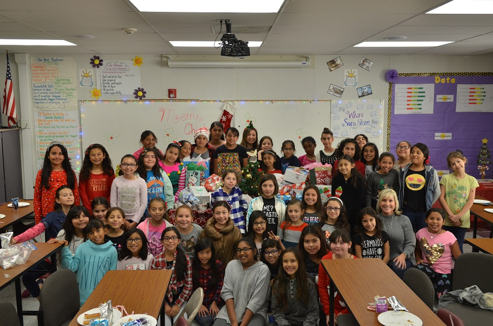 Unsworth Elementary students donated toys and toiletry items to a domestic violence shelter last week. Photo courtesy Downey Unified School District