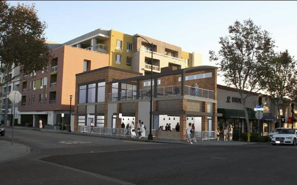 A rendering of the new rooftop restaurant approved at 11100 Downey Ave.