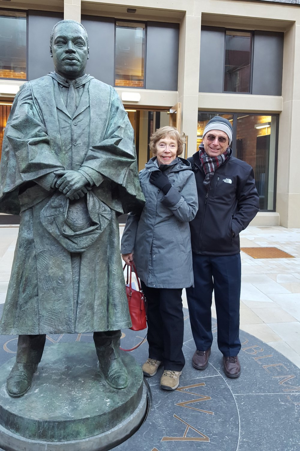 Carol and Frank Kearns at the recently dedicated statue to Martin Luther King, Jr., December 2017