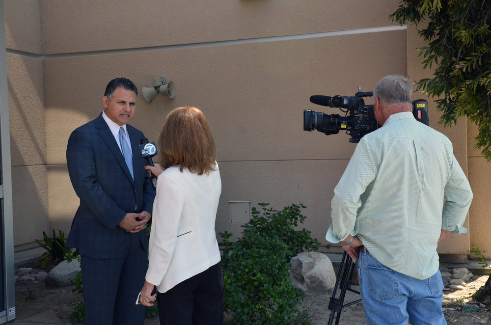 Dr. John Garcia is interviewed by ABC-7 in 2017. Photo courtesy DUSD