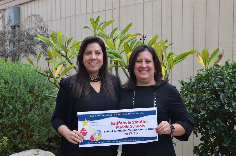 Griffiths Middle School Principal Dr. Rani Bertsch and Stauffer Middle School Principal Alyda Mir pose as they celebrate their schools being selected as 2017–18 Schools to Watch. This program, which is at the state and national level, recognizes high-performing model schools who demonstrate academic excellence, social equity, and responsiveness to the needs of young adolescents. Photo courtesy DUSD