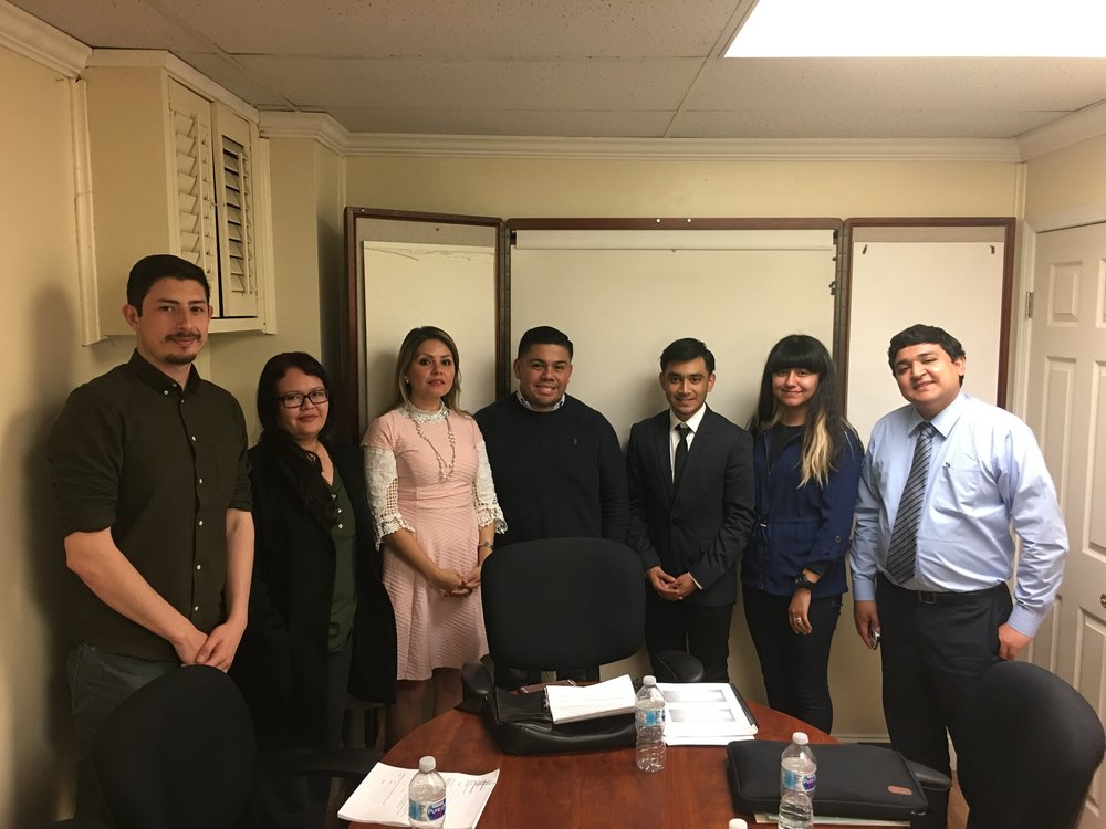 From left: Salvador Melendez, Yasbet Pérez, Maria Torres, Luis Pérez, Chris Galeana, María Gomez Garret, and Samuel Beltran after completing training for citizenship application completion.