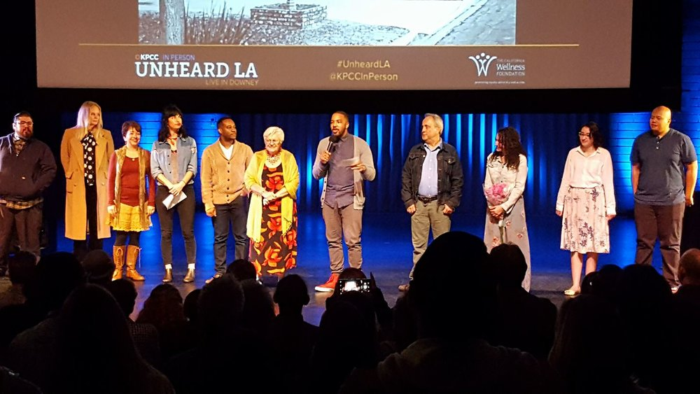 Host Bruce Lemon with storytellers at Unheard LA in Downey. Photo by Carol Kearns