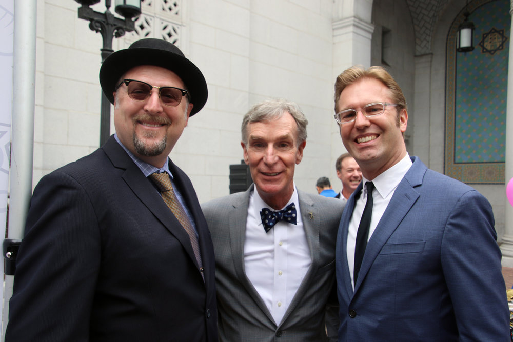 Mayor Sean Ashton, Bill Nye and Ben Dickow. Photo by Alex Dominguez