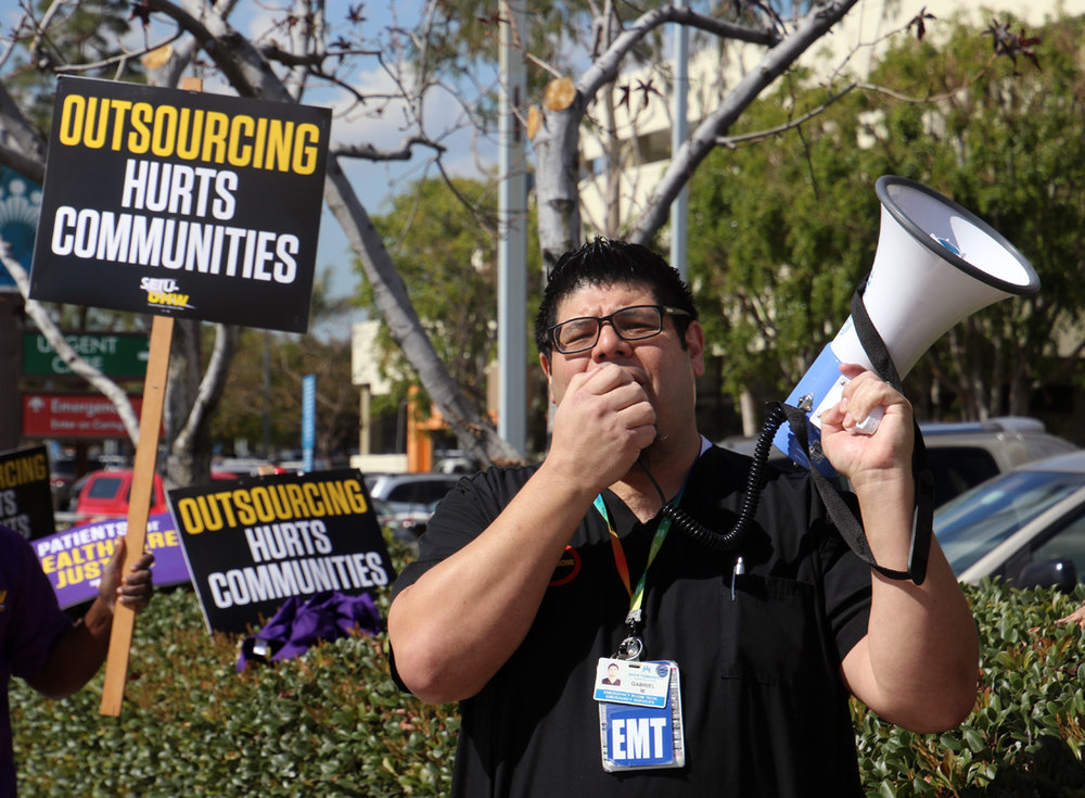 Kaiser Permanente workers at a protest in February. Photo by Alex Dominguez