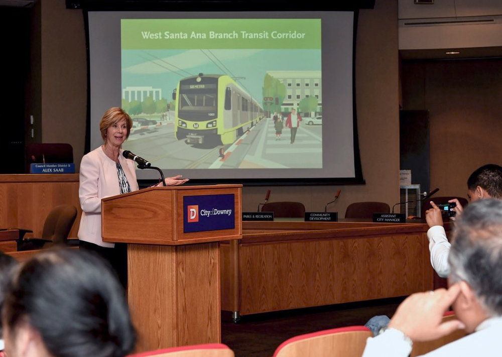 Supervisor Janice Hahn speaks at Downey City Hall last week. Photo courtesy office of Janice Hahn