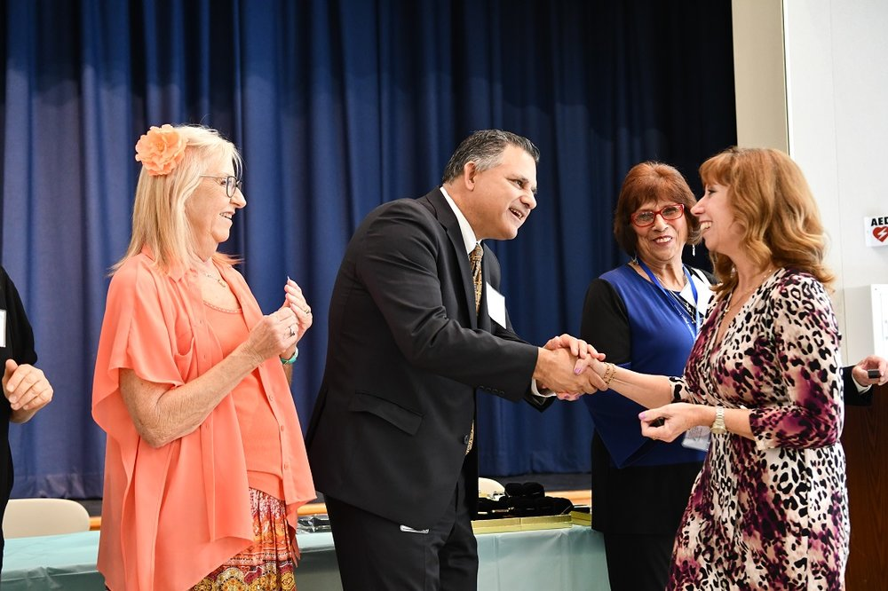 Longtime Downey Unified staff members were honored recently. Photos courtesy DUSD