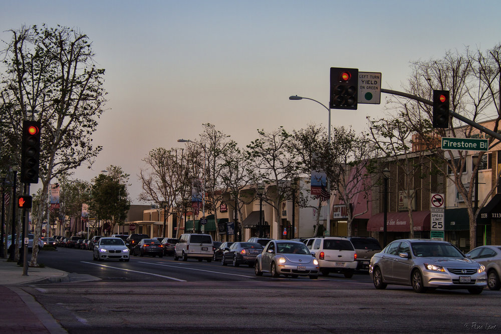 Firestone Boulevard and Downey Avenue. Photo by Pam Lane, DowneyDailyPhotos.com
