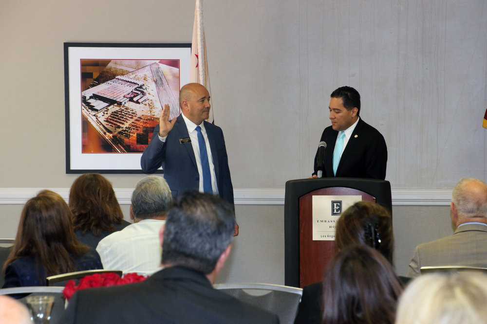 John Casillas is sworn-in as president of the Downey Chamber of Commerce. Photo by Alex Dominguez.