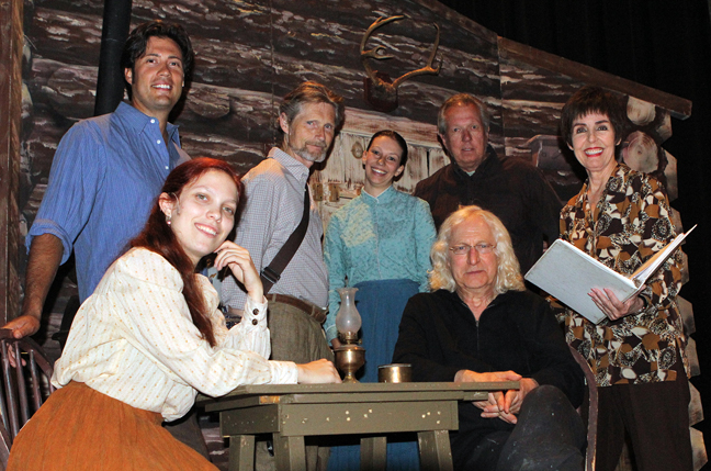"Jason Marquez, William T. Lewis, Lauren Mayfield, Ed Krieger, Marsha Moode, Laura Rensing and Richard Gould at a rehearsal for ""Paint Your Wagon."""