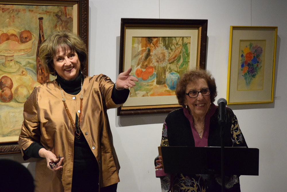 Writers and poets Lorine Parks and Rosalie Sciortino at a Poetry Matters event at Stay Gallery in 2015. Photo by Steve Mansell, DowneyDailyPhotos.com