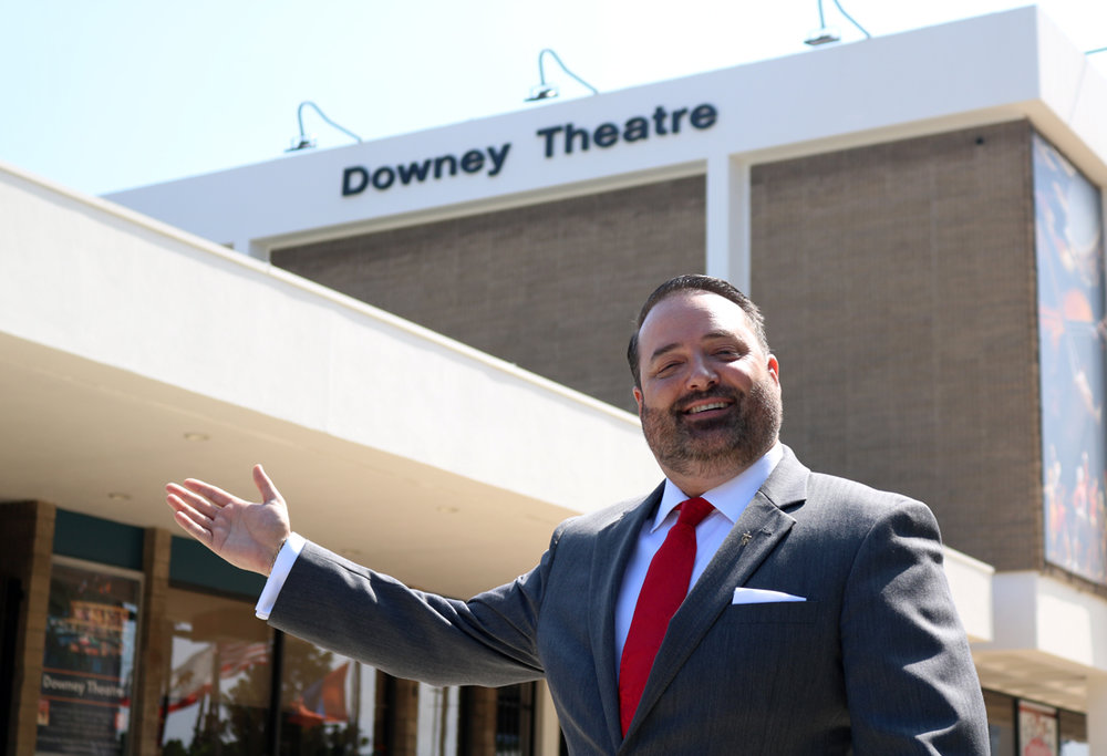 Chad Berlinghieri outside the Downey Theatre. Photo by Alex Dominguez.