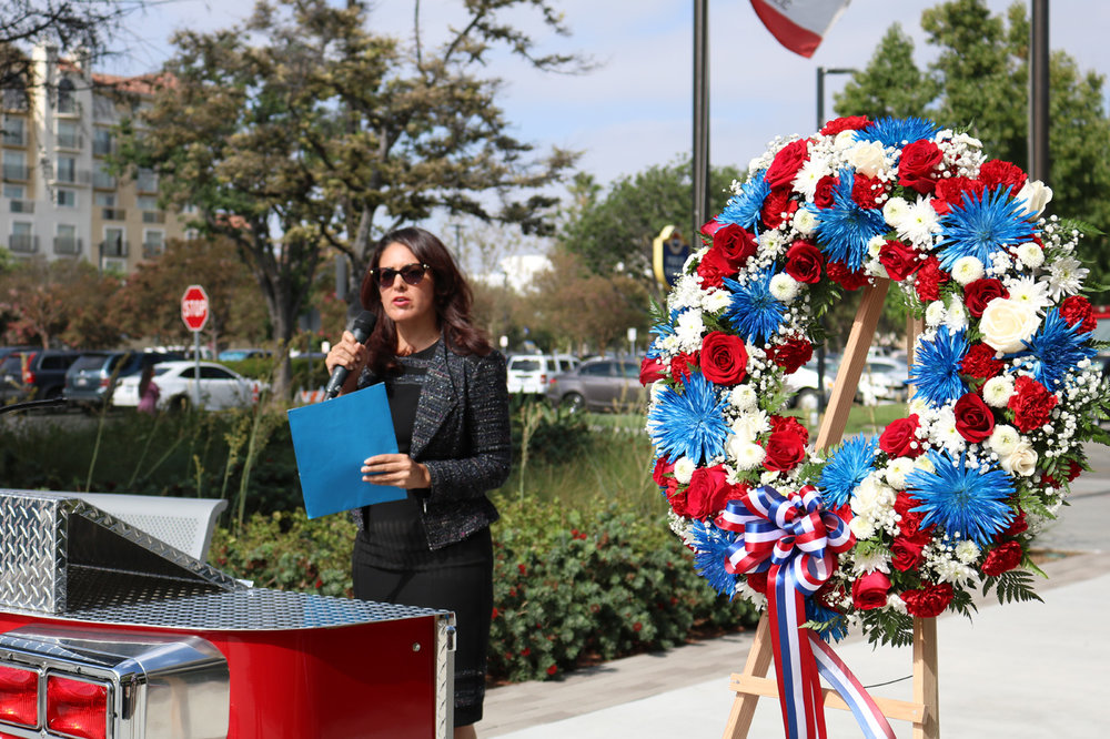Councilmember Blanca Pacheco speaks at a 9/11 remembrance event Tuesday. Photo by Alex Dominguez