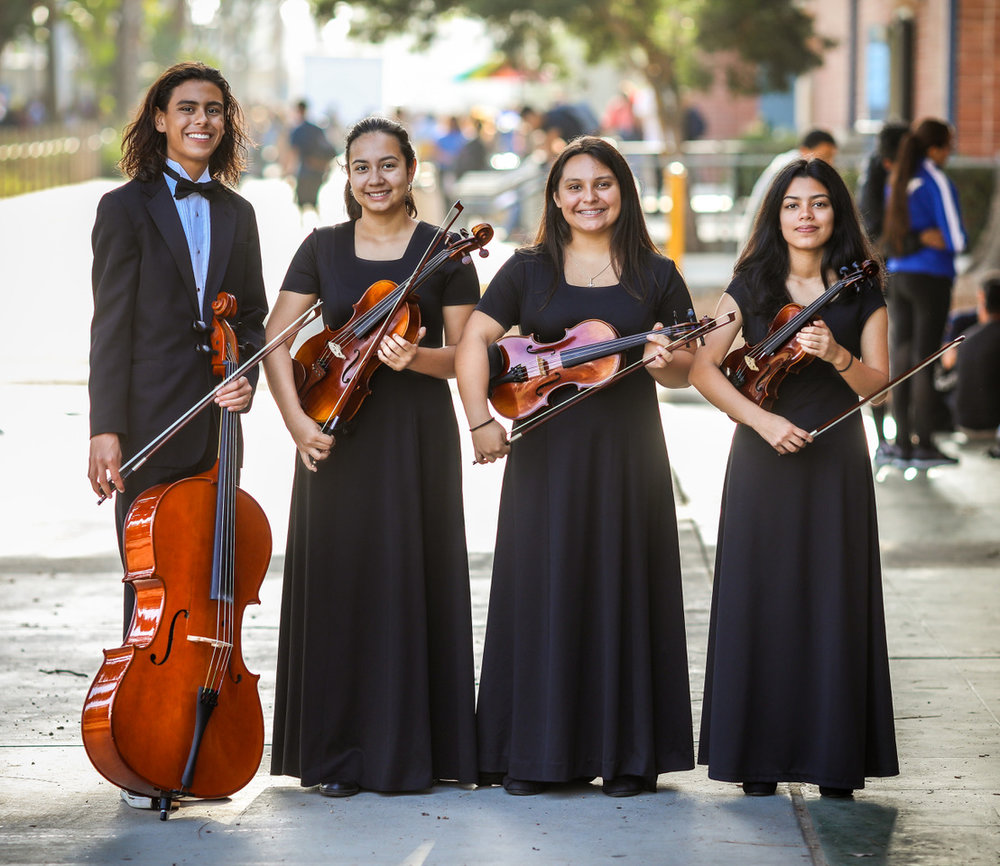 Jacob Fernandes, Alejandra Ortega, Ariana Alvarado and Emily Chavez will perform on stage at the Beatles vs. Stones show Oct. 14 at the Downey Theatre. Photo by Jeff Whetstone.
