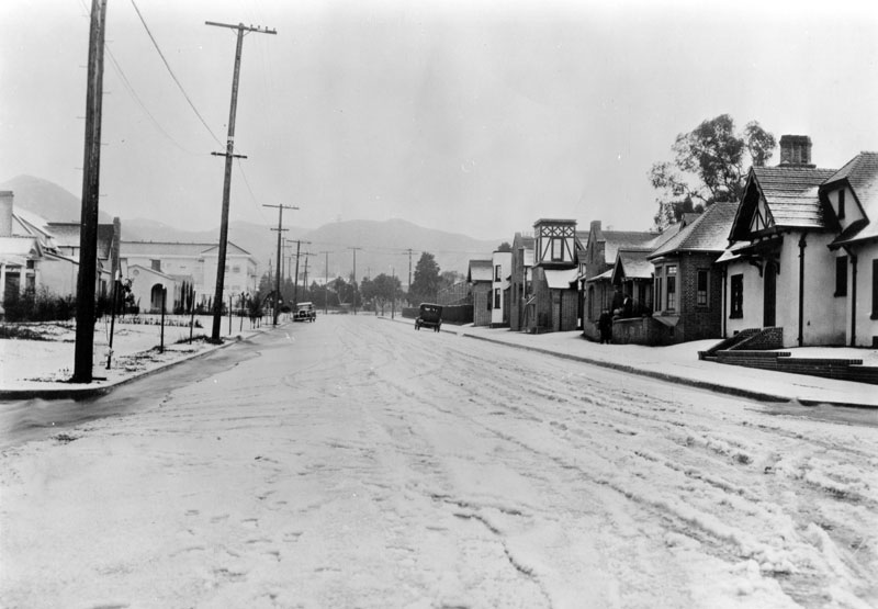 Snow on La Brea Boulevard in Hollywood in 1921. L.A. Public Library photo