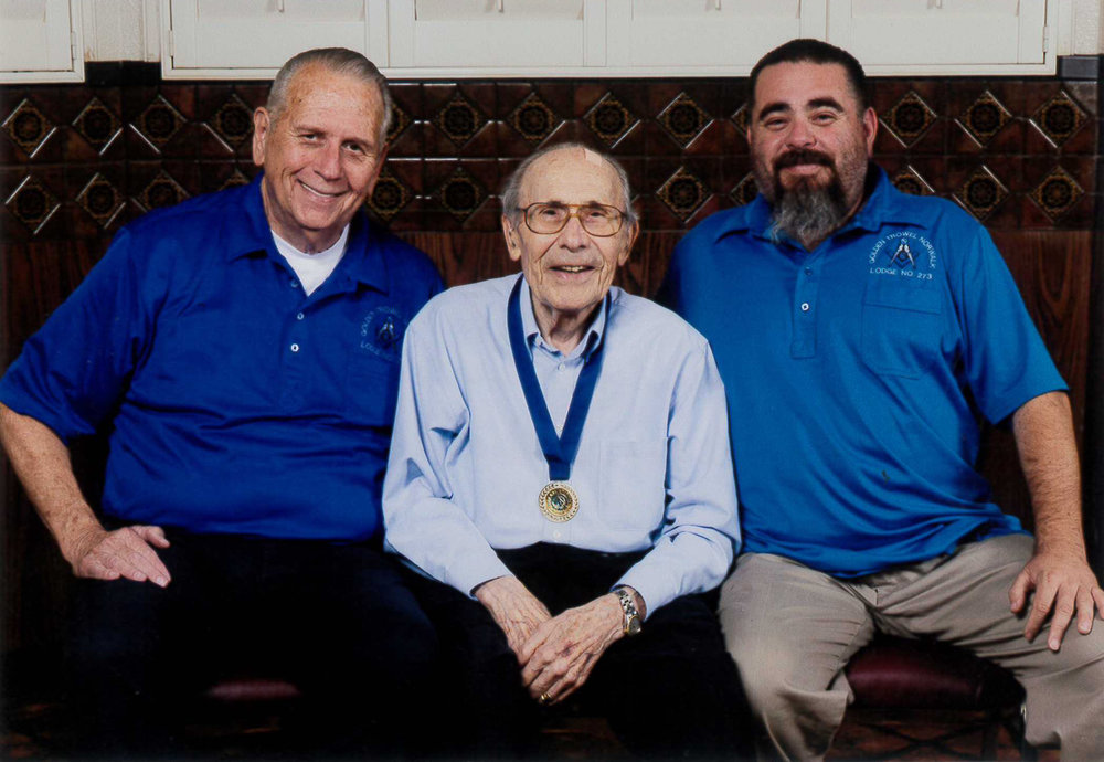 Giulio Mirabella, center, is seen with Mark Patton, Lodge Worshipful Master (right), and Mike Winford, Lodge Secretary (left). Mirabella indicated that being involved with the Masons has been one of the major highlights of his life. Photo by Greg Page