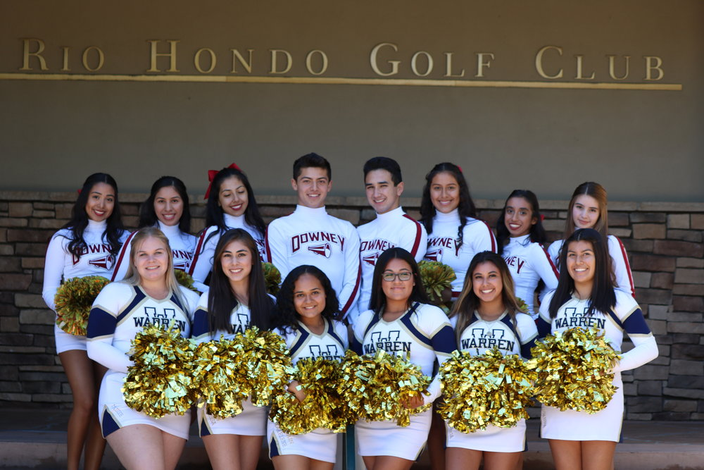Downey and Warren cheerleaders at a spirit rally Tuesday at the Rotary Club of Downey. Photo by Alex Dominguez