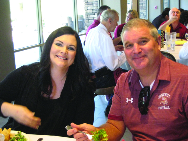 Jennifer DeKay, publisher of the Downey Patriot, and Tom Houts, principal of Downey High School.
