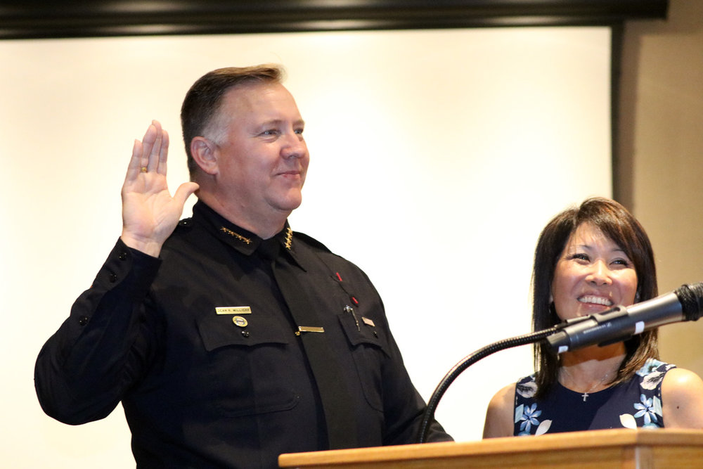 Police Chief Dean Milligan and his wife, Theresa. Photo by Alex Dominguez