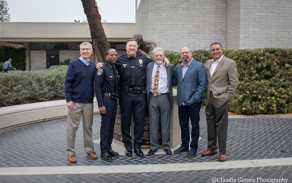Downey police chiefs in attendance Tuesday included John Finch, Carl Charles, Dean Milligan, Greg Caldwell, Rick Esteves and Roy Campos. Photo by Claudia Gomez