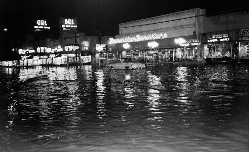 Flooding at Firestone Boulevard and La Reina Avenue in the 1950's. Photo courtesy Larry Latimer/Downey Historical Society