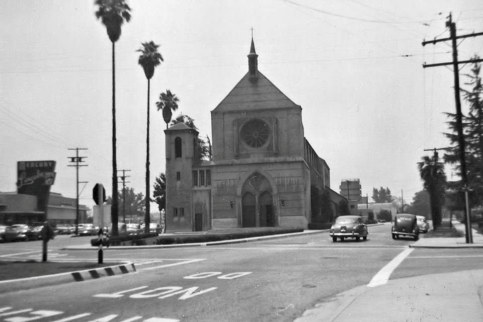 Our Lady of Perpetual Help Church in the 1950s. Photo courtesy Larry Latimer/Downey Historical Society