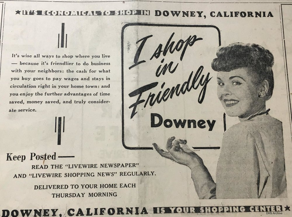 A 1946 advertisement in the Downey LiveWire newspaper. Photo courtesy Larry Latimer/Downey Historical Society