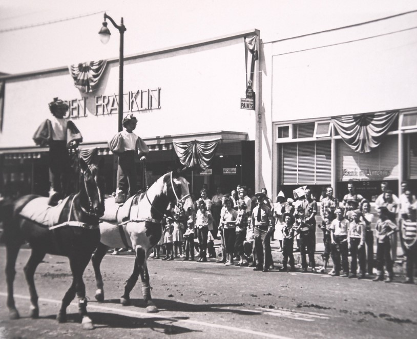 A parade on Downey Avenue between Firestone Boulevard and 2nd St. Photo courtesy Larry Latimer/Downey Historical Society