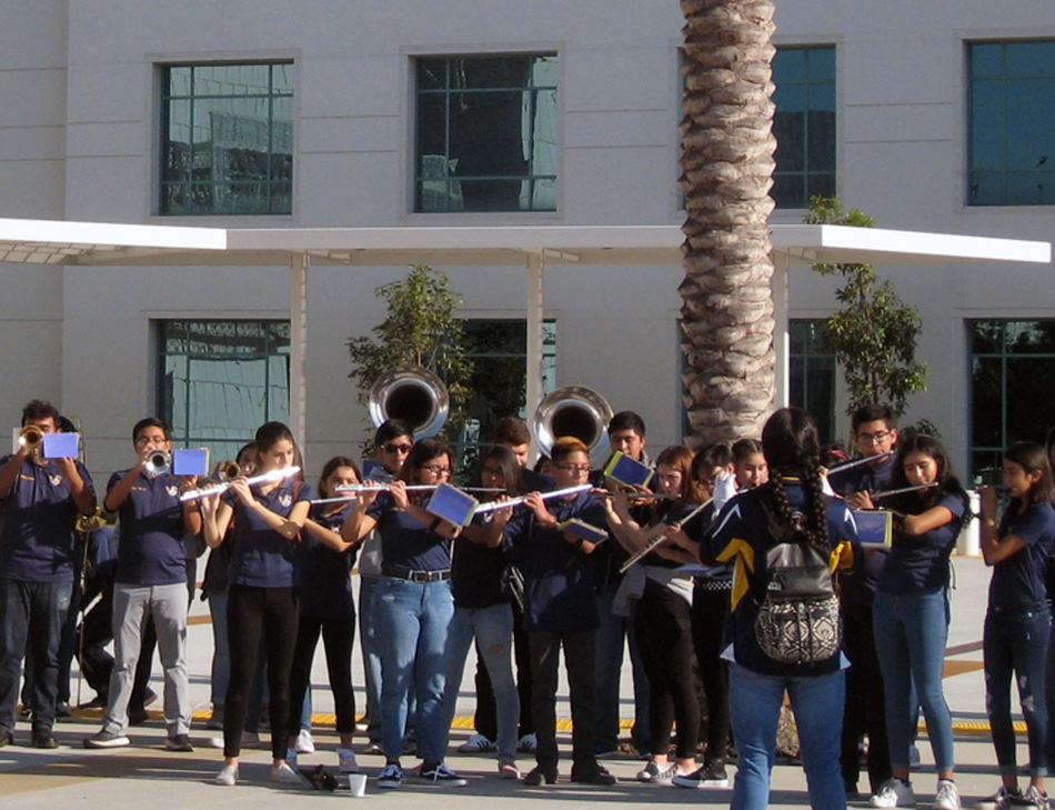 Warren High School's marching band and drill team performed at the Rancho Los Amigos New Year's carnival. Photo by Lorine Parks