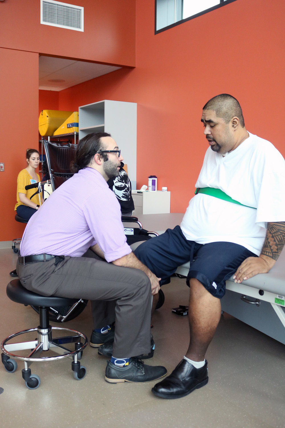 PHOTO BY ALEX DOMINGUEZ   A patient goes through physical therapy at Rancho's new outpatient building.