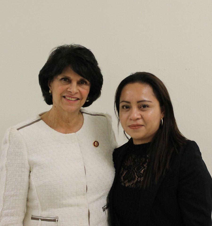 Rep. Lucille Roybal-Allard and Kenia Arredondo Ramos.
