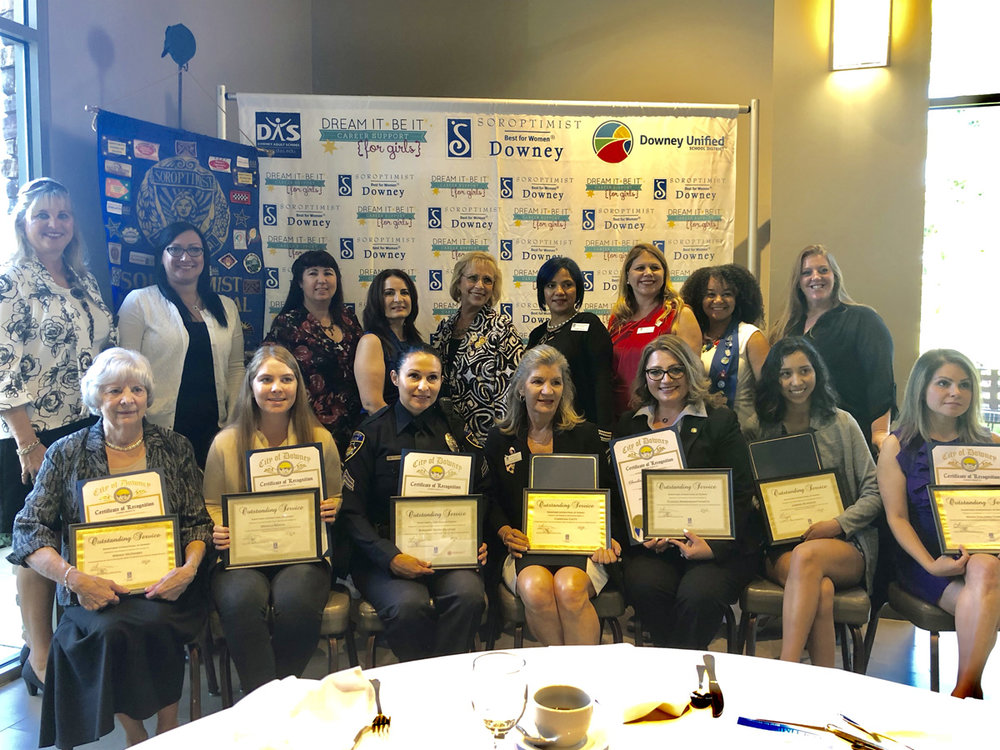 Recipients of Downey Soroptimist's 2018 Women of Distinction awards.