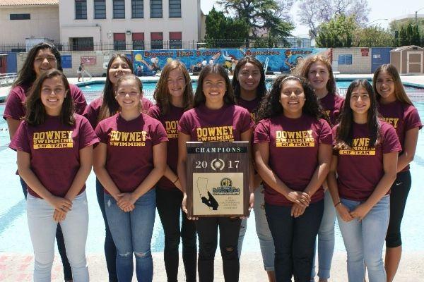 Downey High's CIF champion girls swim team in 2017.