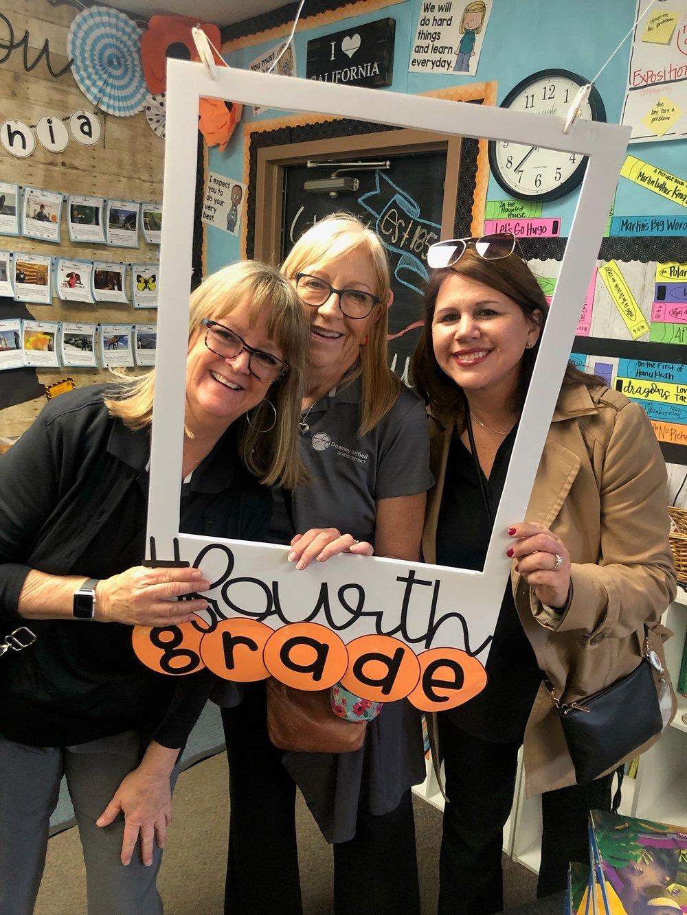 Nancy Swenson, Bobbi Samperi and Giggy Perez-Saab on a visit to Gallatin Elementary.
