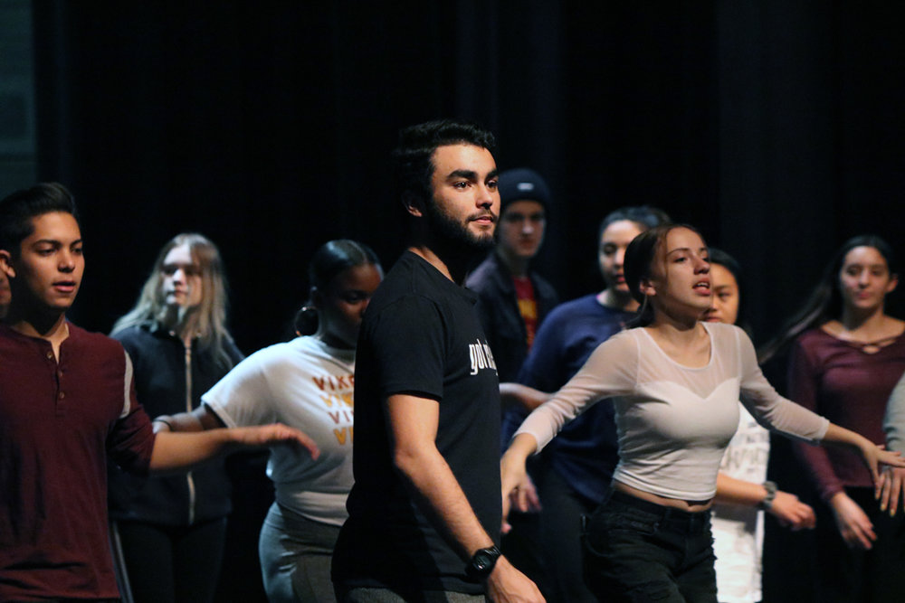 "Downey High students rehearse ""In the Heights."" Photos by Alex Dominguez"