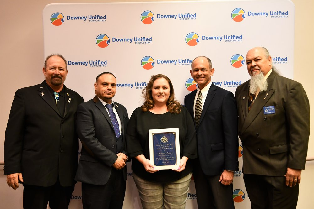 Doty Middle School's Kathleen Carter was recognized as this year's middle school Masonic Teacher of the Year. From left: Stephen White, Downey United Masonic Lodge 220 Junior Warden; Ralph Lopez, Downey United Masonic Lodge 220; Kathleen Carter; Brent Shubin, Doty Middle School Principal; and David Olmedo, Downey United Masonic Lodge 220 Senior Warden.