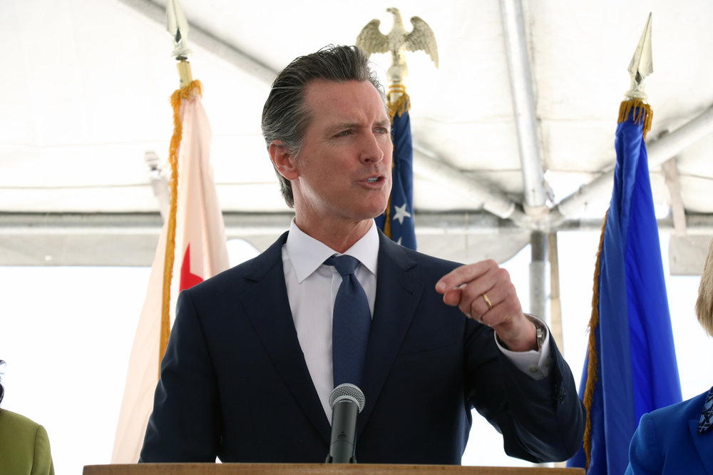 PHOTO BY ALEX DOMINGUEZ   California Gov. Gavin Newsom speaks at Rancho Los Amigos National Rehabilitation Center, where he announced a new state effort to reduce pharmaceutical costs.